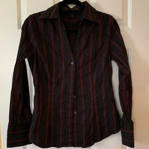 Red and black stripe button down shirt